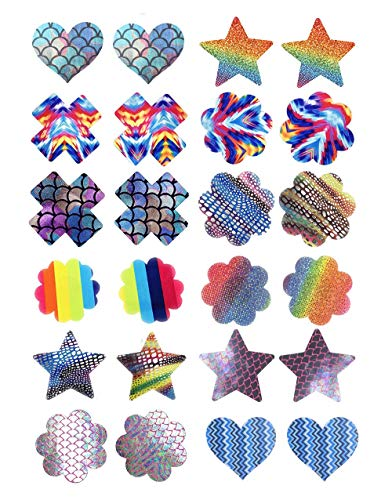 Geoot Design Nipple Cover Satin Pasties Nipple Stickers Disposable Adhesive Nipple Pasties 12 Pairs (12 Pairs - Mixed Color1) 1/2' Sch 80 Nipple
