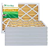 FilterBuy 16x20x2 MERV 11 Pleated AC Furnace Air Filter, (Pack of 6 Filters), 16x20x2 – Gold