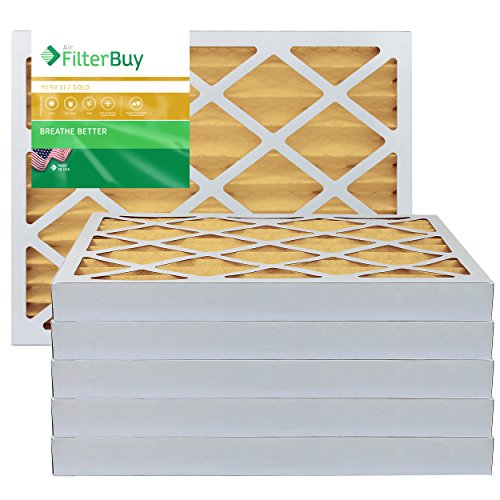 FilterBuy 13.25x13.25x2 MERV 11 Pleated AC Furnace Air Filter, (Pack of 6 Filters), 13.25x13.25x2 – Gold by FilterBuy