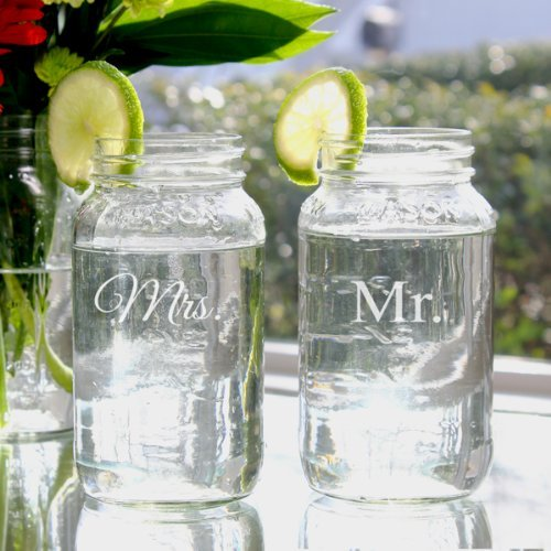 Table Cathys Decoration Concepts (Mr. & Mrs. 26oz. Ball Jar Set, Wedding Party Table Decorations Bride and Groom Gifts by Cathy's Concepts)