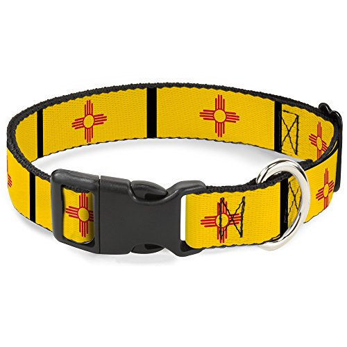 Dog Collar Plastic Clip New Mexico Flag Black 11 to 17 Inches 1.0 Inch Wide