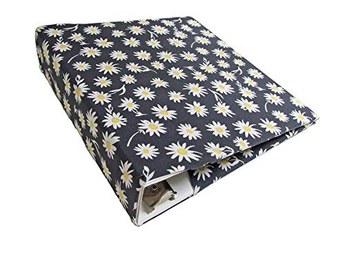 Floral Planner Cover in DAISIES, Stretchable Fabric Binder Cover for 2-3 inch Wide Binder, 3 Ring Binder - Daisy Ring Stretch