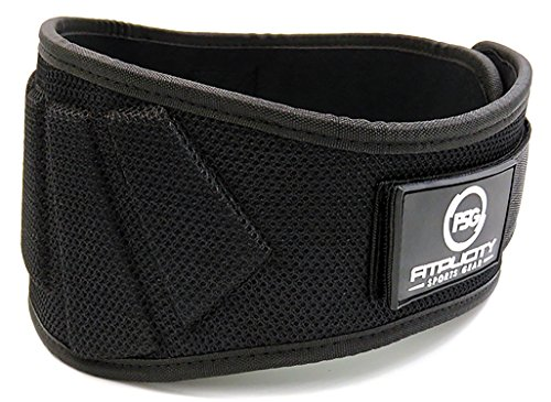 Weight Lifting Belt by Fitplicity, For Bodybuilding, CrossFit, Olympic Lifting, Powerlifting, Squat and Deadlifts, 6 Inch Back Support for Men and Women