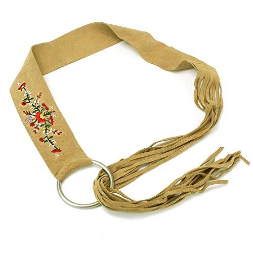 Suede Leather Belt Strap (Womens Genuine Suede Fringe Wide Strap Belt Tan)