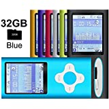 G.G.Martinsen Blue Versatile MP3/MP4 Player with a 32GB Micro SD Card, Support Pehoto Viewer, Radio and Voice Recorder, Mini USB Port 1.8 LCD, Digital MP3 Player, MP4 Player, Video/Media/Music Player