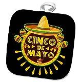 3dRose Sven Herkenrath Celebration - Cinco de Mayo Mexican Style Lettering and Sombrero on Black Background - 8x8 Potholder (phl_280382_1)