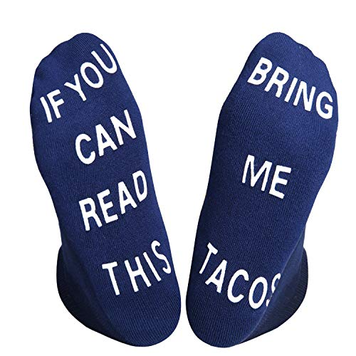 If You Can Read This Funny Cushion No Show Socks Novelty Non-slip Thick Slipper Ankle Socks for Men Women, Taco Gag Gift -
