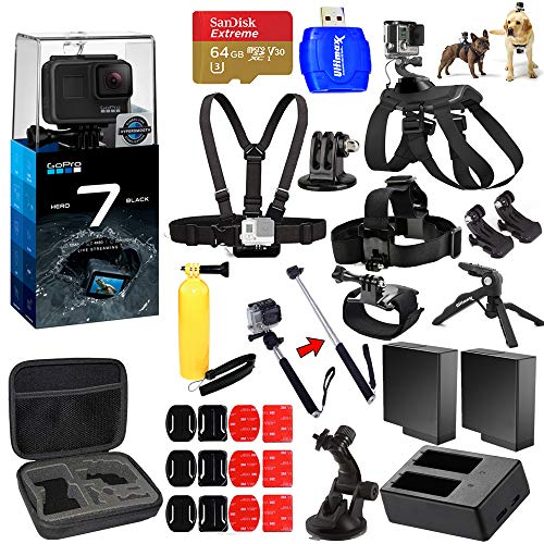 GoPro HERO7 Hero 7 Black All in 1 MEGA Accessory Bundle with 2 Extra Batteries and Charger, 64GB Micro SD, Chest Strap, Head Strap, Medium Case + Much More