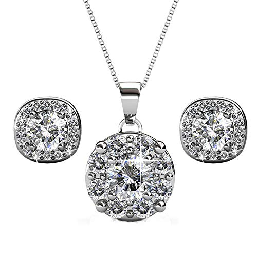 Cate & Chloe Ruth Jewelry Set, Deals, 18k White Gold Pendant Necklace and Stud Earrings with Swarovski Crystals, Round Cut Necklace Earring Set for Women, Silver Halo Jewelry