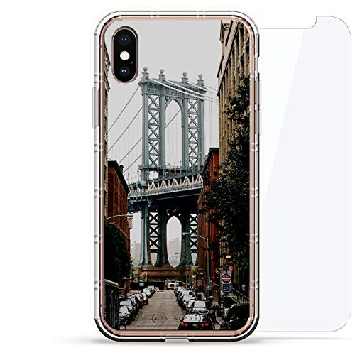 LANDMARKS: MANHATTAN BRIDGE SEETHROUGH | Luxendary Air Series 360 Bundle: Clear Silicone Case with 3D printed design and Air-Pocket Cushion Bumper + Tempered Glass for iPhone Xs Max (6.5