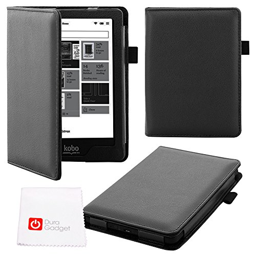 DURAGADGET Deluxe Kobo Glo HD Custom eReader Case - Sleek Magnetic 'Book-Style' Faux Leather Custom Case / Cover in Black Designed for NEW 2015 Kobo Glo HD, Kobo Glo, Kobo Touch 2.0 & Kobo N613-KBO-B eReader GLO Edition by DURAGADGET