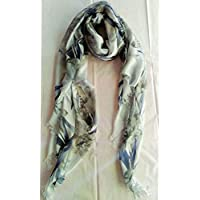 Elena Milani Couture- flower handmade silkscreen beige scarf