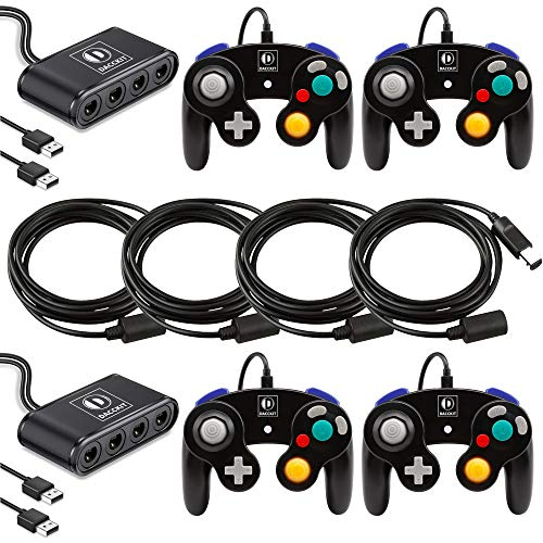 D DACCKIT Gamecube Accessories Bundle Compatible for Switch/Wii U/PC - Includes 4X Gamecube Controllers, 2X Gamecube Controller Adapter, 4X Extension Cords
