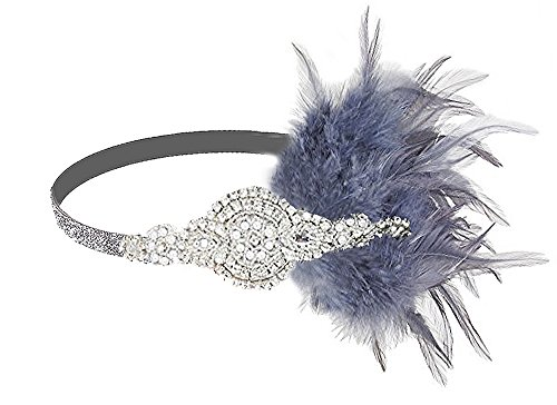 Vintage Black Feather Silver 20s Bridal headpiece 1920s Flapper Great Gatsby Headband (Silver and -