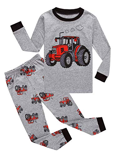 Family Feeling Tractor Big Boys Long Sleeve Pajama Sets for Child 100% Cotton Pyjamas Toddler Kids Pjs Size 8 (Tractor Red The)