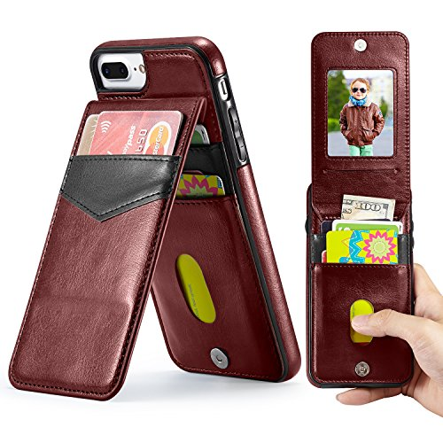 Marval.P Holster Leather Wallet Case, Up Flip Slim Premium Genuine Card Slots Shockproof Folio Defender Shell Magnetic Clasp Kickstand Holder for iPhone 6/6s 7/8 PLus X Cover