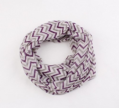 (Dealzip Inc Grey Mix Purple Chevron Wave Pattern Soft Fashion French Infinity Chiffon Scarf Cotton Elegant Ethnic Express Gray Girls(Size:155cmX48cm))