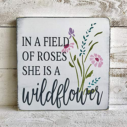 Georgia Barnard Ready to Ship in A Field of Roses She is A Wildflower Hand Painted Wood Sign Girl#039s Room Decor Nursery Art Wooden Sign Girl Gift
