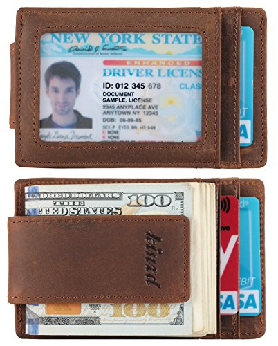 Money Clip, Front Pocket Wallet, Leather RFID Blocking Strong Magnet thin Wallet (one size,Khaki (Id Window Crazy Horse Leather))