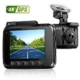 "4K Ultra HD Car Dash Cam Recorder, 150° Wide Angle Lens Dashboard Camera with WiFi&APP, G-Sensor, GPS, WDR, Loop Recording, 2.4"" Screen Vehicle Dash Video Camera"