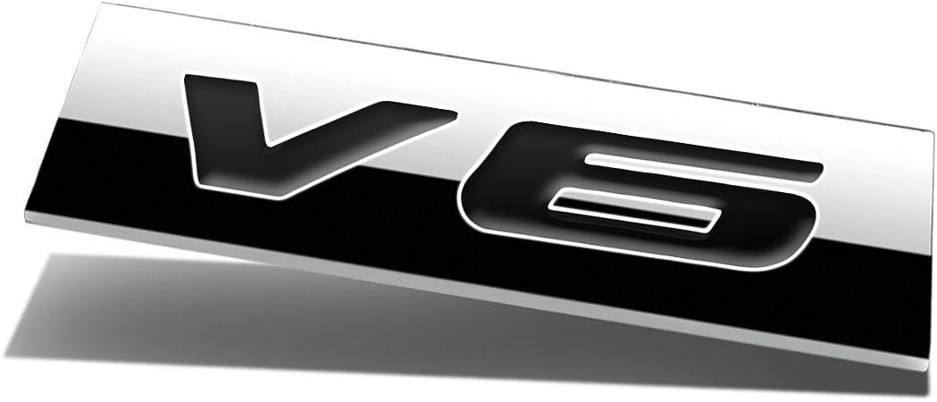 2x 3D Metal Adhesive V6 Truck Car Badge Emblem Sticker Replacement for Universal Cars Matt Black