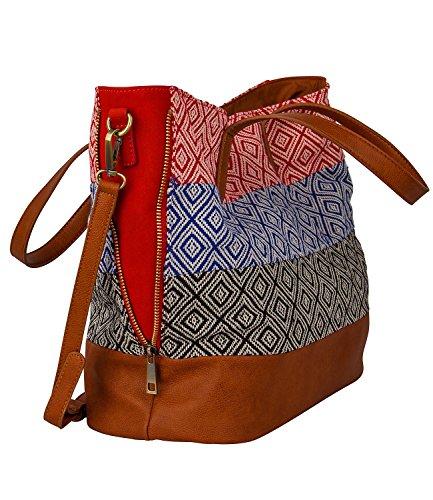 3390b4600a813 ... SIX SALE Festival große Damen Handtasche Ethno Shopper Rot Blau Schwarz  Weiß braune Quaste abnehmbarer Umhängeriemen ...