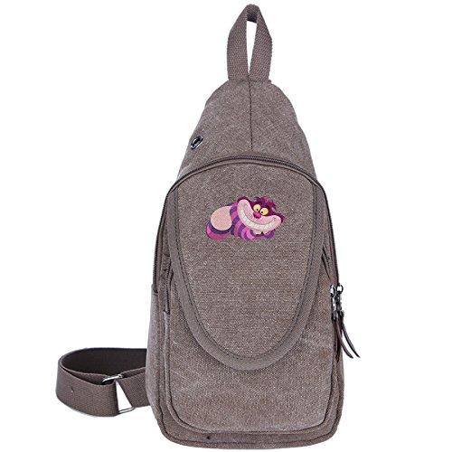 Alice In Wonderland King Of Hearts (Cheshire Cat Lounging Casual Canvas Unbalance Backpack Sling Bag Men Shoulder Bag Chest Bag)