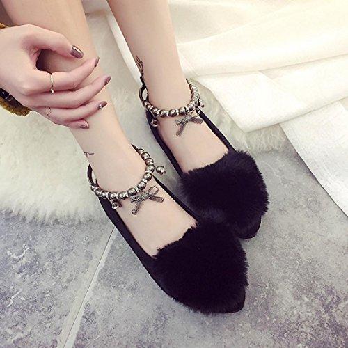 Women Shoes ,Jamicy Women Ladies Fashion Fluffy Flat Slip On Shoes Black