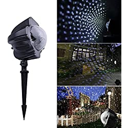 Gbell Waterproof LED Night Light Projector Lamp,White Snowflakes Night Light Projector,Perfectly Indoor Outdoor Walls,Landscapes,Dance Floors,Christmas,Halloween,Weddings,Family Parties (Black)