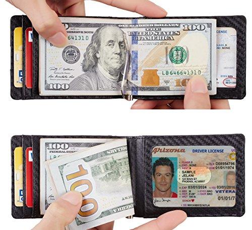 NapaWalli RFID Blocking Bifold Slim Genuine Leather Thin Minimalist Front Pocket Wallets for Men Money Clip (Carbon Fiber Leather Black) by NapaWalli (Image #3)