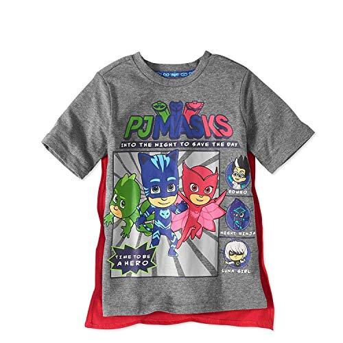 PJMASKS PJ Masks Boys Caped Shirt Catboy, Owlette, Gekko Short Sleeve Caped T-Shirt (Multicolor, 5T)