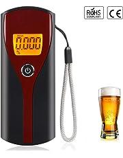 URAQT Alcoholímetro Digital, Alcoholímetro profesional, Probador Portátil de Alcoho con Pantalla LCD,Desechables Semi-Conductor de la Tecnología de Sensor,AT6880, Rojo + Negro