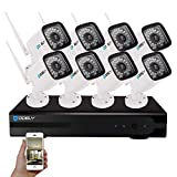 Hodely 8CH 1080P NVR WiFi Set 720P 3.6mm 36-LED Waterproof IP Camera US Plug
