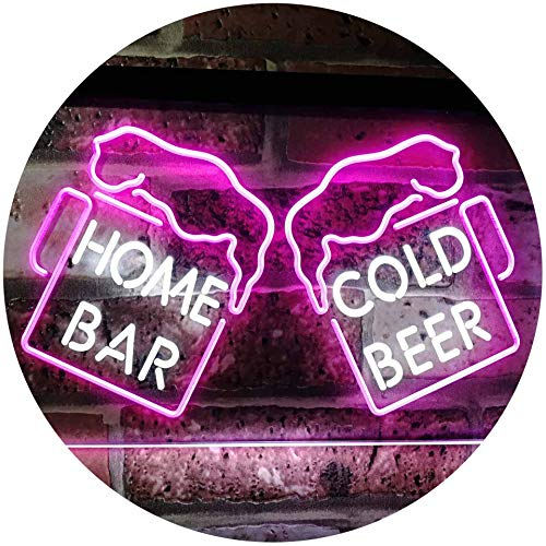 - ADVPRO Home Bar Cold Beer Mugs Cheers Dual Color LED Neon Sign White & Purple 16 x 12 Inches st6s43-i2348-wp