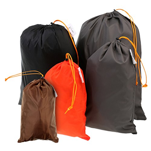 MonkeyJack 5 Pieces/ Set Drawstring Camping Travel Stuff Sack Reusable Durable Luggage Clothes Shoes Tools Storage Bag