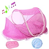2017 Baby Travel Bed Portable Travel Crib, Folding Sleeping Mosquito Net Bed Infant Beach Tent with Baby Summer Soft Sleeping Mat Plays Music (43.3'' x 23.6'' x 25.6'', Pink)