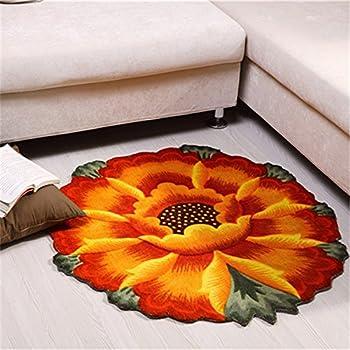 YOUSA Sunflower Round Rug Flower Shaped Bedroom Carpet Anti-slip Chair Mats (35.4,Orange)