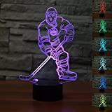 3D Ice Hockey Player Night Light USB Touch Switch Decor Table Desk Optical Illusion Lamps 7 Color Changing Lights LED Table Lamp Xmas Home Love Brithday Children Kids Decor Toy Gift