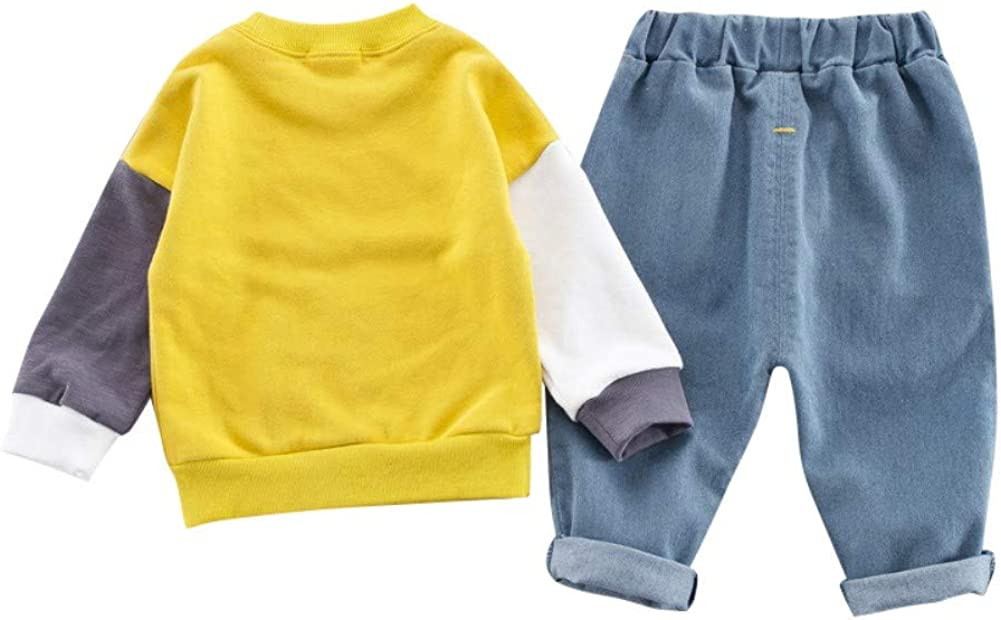 Denim Trousers Harem Pants Outfits Spring Autumn Casual Tracksuit Age 0-4 Years Gyratedream Kids T-Shirt Jeans 2Pcs Clothes Set Girls Boys Long Sleeve Tops Sweatshirt