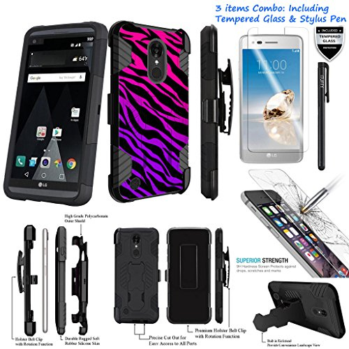 For LG Fortune /LG Phoenix 3 /LG Risio 2 /3Items [Tempered Glass]+Stylus Pen+[Impact Resistance] Dual Layer [Belt Clip] Holster Combo [KickStand] Phone Case Pink Purple Zebra - Black