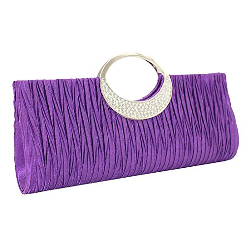 Party Purse Women Rhinestone Purple Bag Diamante Handbags Wedding Wallet Pleated Verus Satin Clutch 1wq4Tg