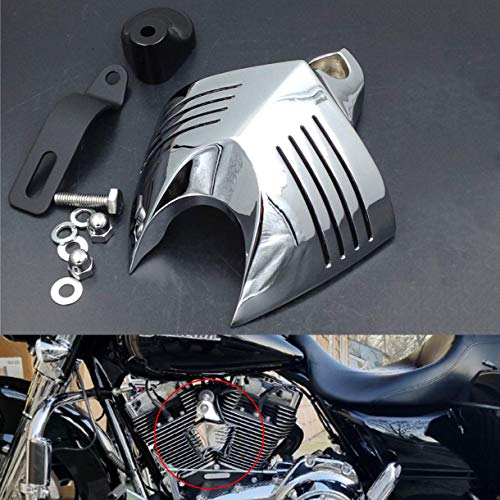HTTMT MT246-001-CD Chrome Horn Cover Compatible with Harley Big Twins V-Rods Stock Cowbell Horns - Horn Skull Cover Accessories