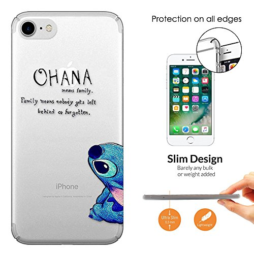 "c00036 - Ohana Family Meaning Fun Cool Design iphone 7 Plus 5.5"" Fashion Trend Leichtgewicht Hülle Ultra Slim 0.3MM Kunststoff Kanten und Rückseite Protection Hülle - Clear"