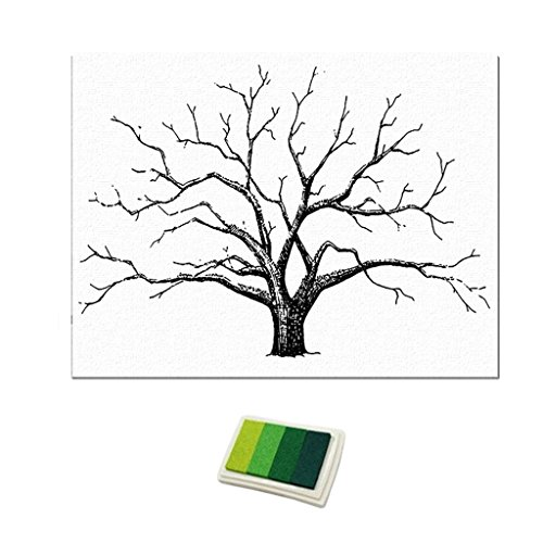 D DOLITY Large Wedding Fingerprint Thumbprint Tree Signature Guest Book 12x16 Inch Canvas Painting Home Decoration - Green