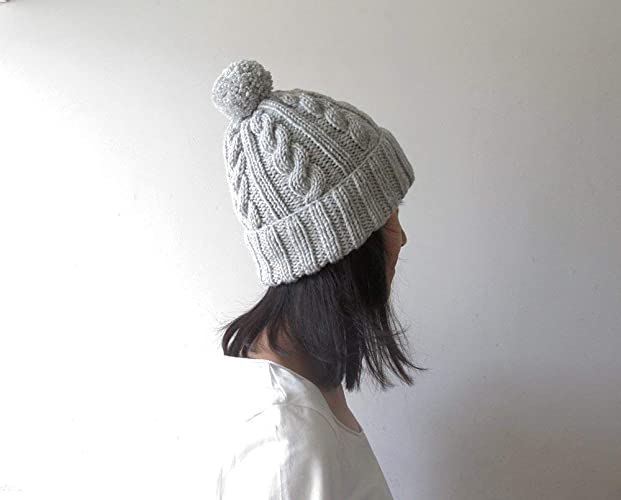 96954b6e77c Amazon.com  Cable Knit Hat in Light Grey Melange
