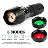 LED Flashlight, Sacow 20000LM T6 LED Zoomable 3 Color Flashlight Torch Hunt Light Super Bright with Red/ Green Lens