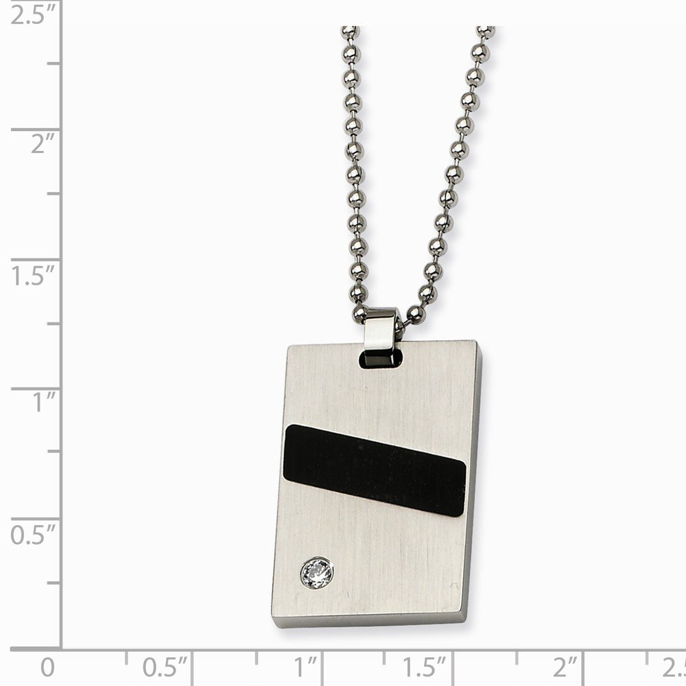 Stainless Steel Black Rubber And CZ Pendant Necklace 30x19mm 22 Inches