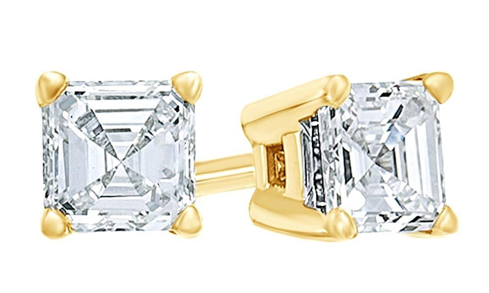 Asscherschliff Weißszlig; natürlicher Diamant Solitaire Ohrstecker in 14 ct 585 Massiv Weißszlig; Gold (0,33 Karat Gesamtgewicht) 14 Karat (585) GelbGold
