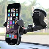 MANORDS Universal Car Mount Holder iPhone, Long Neck One Touch Car Mount Holder Compatible iPhone X 8 7 7s 6s Plus 6s 5s 5c Samsung Galaxy S8 Edge S7 S6 Note 5 Car Stand More (Black)