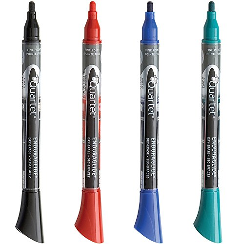 Quartet Dry Erase Markers, EnduraGlide, Fine Tip, BOLD COLOR, Assorted Color, 4 Pack - Bold Whiteboard Marker